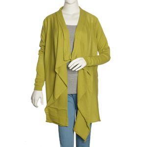 Green 100% Cotton Long Sleeve Open Waterfall Cardigan (X/XL)