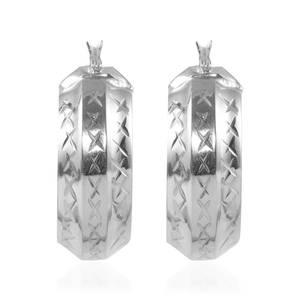 Diamant Cut Sterling Silver Hoop Earrings (3.9 g)