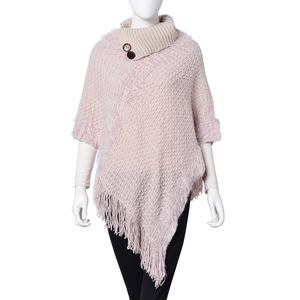 Cream 100% Acrylic Foldover Button Neck V-Shape Poncho with Fringes (One Size)