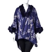 Navy and Beige 100% Acrylic Floral Pattern Faux Fur Trimmed Kimono (One Size)