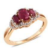 Niassa Ruby, Cambodian Zircon 14K YG Over Sterling Silver Trilogy Ring (Size 7.0) TGW 1.95 cts.