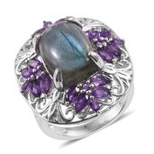 Malagasy Labradorite, Amethyst Platinum Over Sterling Silver Ring (Size 7.0) TGW 13.25 cts.