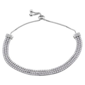 Simulated Diamond Silvertone Bracelet TGW 12.00 cts.