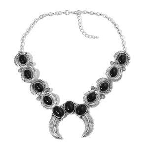 Enhanced Black Agate Black Oxidized Silvertone Bib Necklace (18 in) TGW 100.00 cts.