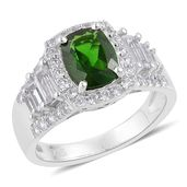 Russian Diopside, White Topaz Sterling Silver Ring (Size 9.0) TGW 3.70 cts.