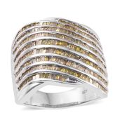 One Day TLV Yellow Diamond (IR) Platinum Over Sterling Silver Dome Shape Ring (Size 5.0) TDiaWt 2.00 cts, TGW 2.00 cts.