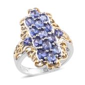 Tanzanite 14K YG and Platinum Over Sterling Silver Openwork Ring (Size 10.0) TGW 3.74 cts.