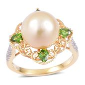 South Sea Golden Pearl (11-12 mm), Russian Diopside, White Zircon 14K YG Over Sterling Silver Ring (Size 6.0) TGW 1.03 cts.