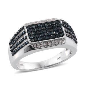 Blue Diamond (IR), Diamond Blue Rhodium & Platinum Over Sterling Silver Ring (Size 14.0) TDiaWt 1.03 cts, TGW 1.03 cts.