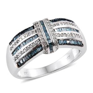 Blue Diamond (IR), Diamond Platinum Over Sterling Silver Ring (Size 10.0) TDiaWt 0.76 cts, TGW 0.76 cts.