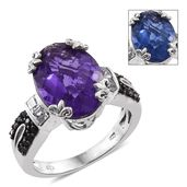 Color Change Fluorite, Thai Black Spinel, White Topaz Platinum Over Sterling Silver Ring (Size 8.0) TGW 11.15 cts.