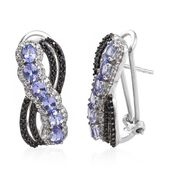 Tanzanite, Thai Black Spinel, Cambodian Zircon Black Rhodium and Platinum Over Sterling Silver Omega Clip Earrings TGW 3.81 cts.