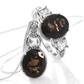 Brazilian Smoky Quartz, White Topaz Platinum Over Sterling Silver Ring (Size 9) and Pendant With Chain (20 in) TGW 10.56 cts.