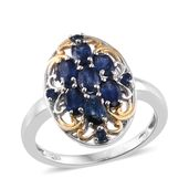 Kanchanaburi Blue Sapphire 14K YG and Platinum Over Sterling Silver Ring (Size 6.0) TGW 2.27 cts.