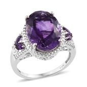 Kevin's Presidential Deal Lusaka Amethyst Platinum Over Sterling Silver Ring (Size 6.0) TGW 8.82 cts.