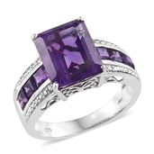 Lusaka Amethyst Platinum Over Sterling Silver Ring (Size 6.0) TGW 6.70 cts.