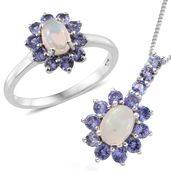 Kevin's Presidential Deal Ethiopian Welo Opal, Tanzanite Platinum Over Sterling Silver Ring (Size 6) and Pendant With Chain (20 in) TGW 2.42 cts.