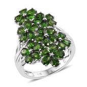 Russian Diopside Platinum Over Sterling Silver Floral Ring (Size 8.0) TGW 6.75 cts.