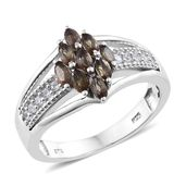 Jenipapo Andalusite, Cambodian Zircon Platinum Over Sterling Silver Ring (Size 5.0) TGW 1.15 cts.
