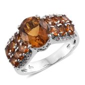Santa Ana Madeira Citrine, Cambodian Zircon Platinum Over Sterling Silver Ring (Size 7.0) TGW 6.12 cts.