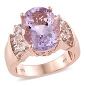 Dan's Jewelry Selections Rose De France Amethyst, White Topaz 14K RG Over Sterling Silver Ring (Size 8.0) TGW 8.74 cts.