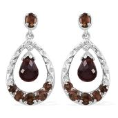 Jenipapo Andalusite, Mozambique Garnet Platinum Over Sterling Silver Earrings TGW 5.76 cts.