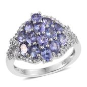 Tanzanite, Cambodian Zircon Platinum Over Sterling Silver Ring (Size 5.0) TGW 3.16 cts.