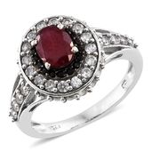 Niassa Ruby, Cambodian Zircon, Thai Black Spinel Platinum Over Sterling Silver Ring (Size 10.0) TGW 4.13 cts.