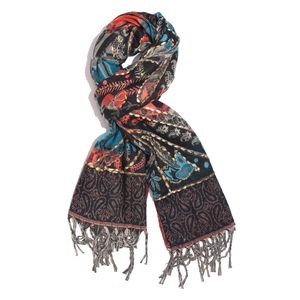 Reversible Black Hand Embroidered 100% Acrylic Fringe Scarf (78x28 in)