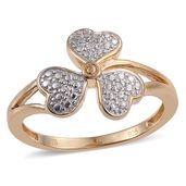 Diamond Accent 14K YG and Platinum Over Sterling Silver Clover Ring (Size 7.0)