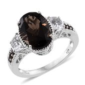 Brazilian Smoky Quartz, White Topaz Platinum Over Sterling Silver Ring (Size 10.0) TGW 7.12 cts.