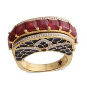 GP Niassa Ruby 14K YG Over Sterling Silver Enameled Ring (Size 6.0) TGW 4.34 cts.