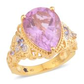 GP Pink Moscato Quartz, Multi Gemstone 14K YG Over Sterling Silver Ring (Size 7.0) TGW 9.11 cts.
