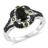 Russian Diopside, Thai Black Spinel Black Rhodium & Platinum Over Sterling Silver Ring (Size 5.0) TGW 2.25 cts.