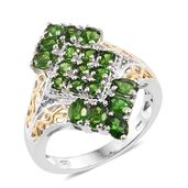 Russian Diopside, Cambodian Zircon 14K YG and Platinum Over Sterling Silver Ring (Size 6.0) TGW 2.86 cts.