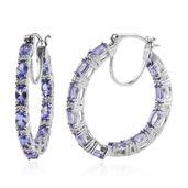 Tanzanite, Cambodian Zircon Platinum Over Sterling Silver Hoop Earrings TGW 5.42 cts.