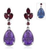 Color Change Fluorite, Orissa Rhodolite Garnet Platinum Over Sterling Silver Drop Earrings TGW 9.10 cts.
