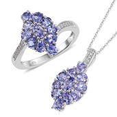 Tanzanite, Cambodian Zircon Platinum Over Sterling Silver Ring (Size 6) and Pendant With Chain (20 in) TGW 3.91 cts.