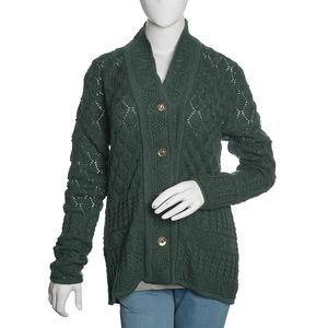 Slate Green 100% Acrylic Knitted Button-up V-Neck Cardigan (XL/XXL)