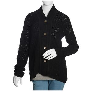 Black 100% Acrylic Knitted Button-up V-Neck Cardigan (M/L)