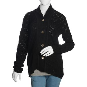 Black 100% Acrylic Knitted Button-up V-Neck Cardigan (XL/XXL)