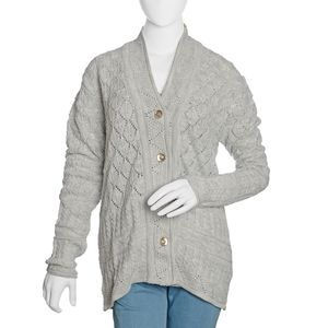 Gray 100% Acrylic Knitted Button-up V-Neck Cardigan (M/L)