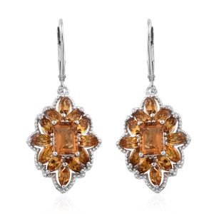 Serra Gaucha Citrine Platinum Over Sterling Silver Lever Back Earrings TGW 5.23 cts.