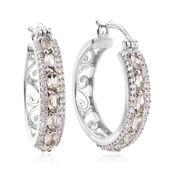 Turkizite, Cambodian Zircon Platinum Over Sterling Silver Hoop Earrings TGW 1.89 cts.