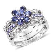 Set of 3 Premium AAA Tanzanite, Cambodian Zircon Platinum Over Sterling Silver Stackable Flower Rings (Size 6.0) TGW 2.40 cts.
