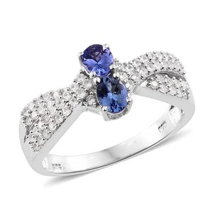 Premium AAA Tanzanite, Cambodian Zircon Platinum Over Sterling Silver Ring (Size 5.0) TGW 1.42 cts.