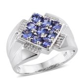 Premium AAA Tanzanite, Cambodian Zircon Platinum Over Sterling Silver Men's Ring (Size 13.0) TGW 2.38 cts.