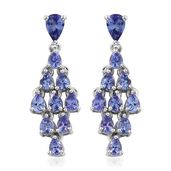 Premium AAA Tanzanite Platinum Over Sterling Silver Chandelier Earrings TGW 3.93 cts.