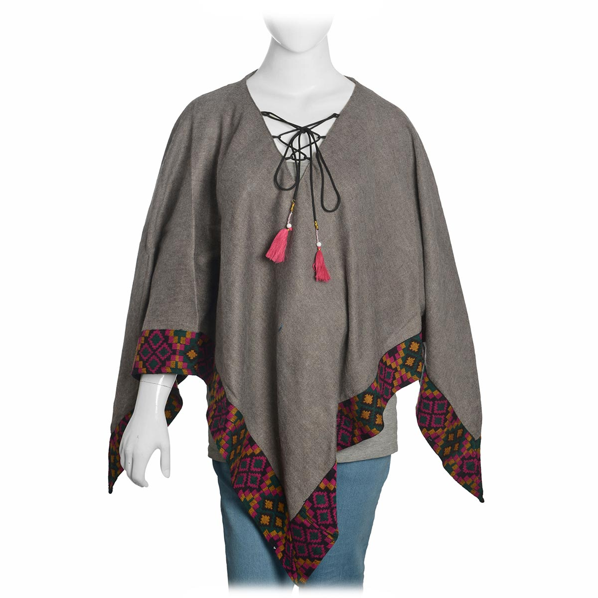 Santa Fe Style Gray 100% Acrylic V-Neck Poncho with Multi Color Ikat Embroidery Outline (One Size)