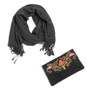 Black 100% Viscose Fringe Scarf (68x26 in) with Matching Floral Scroll Embroidered Clutch (8x4.5 in)